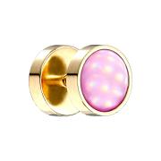 Fake Plug vergoldet mit Opalite pink