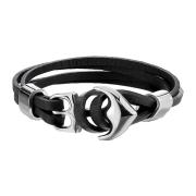 Kunstlederarmband schwarz mit Ankerhaken
