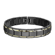 Armband schwarz matt mit zwei Goldstreifen