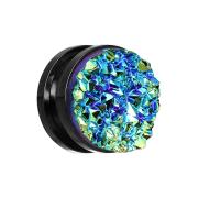 Flesh Plug schwarz mit Druse Stein dunkelblau