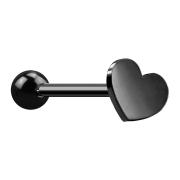 Micro Barbell schwarz mit Kugel und Herz
