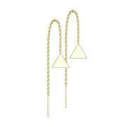 Ohrstecker vergoldet freifallender Kette mit Dreieck massiv