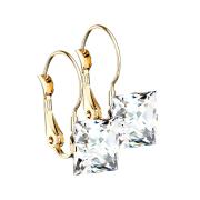 Ohrring vergoldet mit Quadratischem Kristall silber