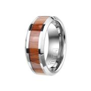 Ring silber mit Holzstreifen