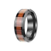 Ring schwarz mit Holzstreifen