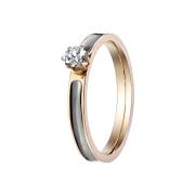 Ring rosegold mit Kristall und schwarzem Streifen