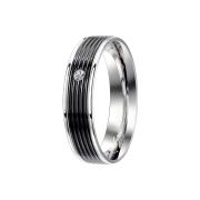 Ring silber mit Kristall und schwarze Rillen