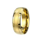 Ring vergoldet gebürstet doppelt gerillt