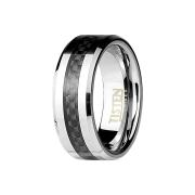 Ring silber mit Carbonstreifen