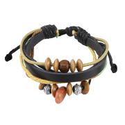 Lederarmband schwarz mit verschiedenen Perlen