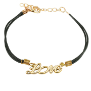 Kunstlederarmband schwarz Love