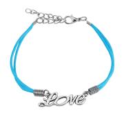 Kunstlederarmband blau Love