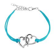 Kunstlederarmband blau zwei Herzen