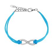 Kunstlederarmband blau Unendlich