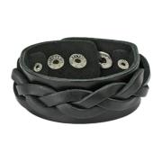 Lederarmband schwarz mit dicken gewebten Streifen