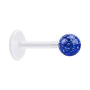 Micro Labret transparent mit Kristallkugel dunkelblau und...