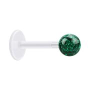 Micro Labret transparent mit Kristallkugel grün und Epoxy Schutzschicht