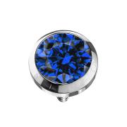 Dermal Anchor silber mit Kristall dunkelblau
