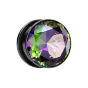 Flesh Plug schwarz mit grossem Kristall multicolor dunkel