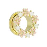 Flesh Tunnel vergoldet Blumen mit Opalite