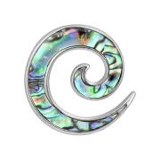 Dehnspiralen silber einseitig mit Abalone (2stk)