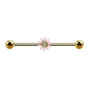 Barbell 14k vergoldet mit Blume rosa