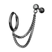 Ohrring schwarz Doppelkette Micro Barbell mit Kugel und...