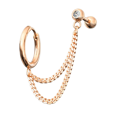 Ohrring rosegold Doppelkette Micro Barbell mit Kugel und Kristall