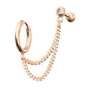 Ohrring rosegold Doppelkette Micro Barbell mit Kugel und...