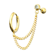 Ohrring vergoldet Doppelkette Micro Barbell mit Kugel und...