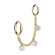 Ohrring vergoldet Kette mit Ohrring und drei Kristalle