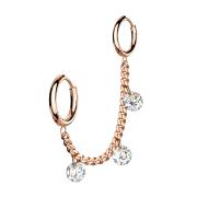 Ohrring rosegold Kette mit Ohrring und drei Kristalle