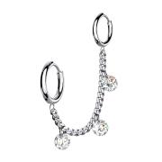 Ohrring silber Kette mit Ohrring und drei Kristalle