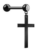 Micro Barbell schwarz mit Anhänger Kreuz