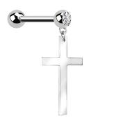Micro Barbell silber mit Anhänger Kreuz