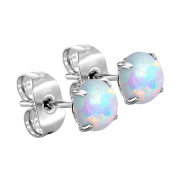 Ohrstecker silber mit Opal weiss