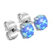 Ohrstecker silber mit Opal blau