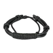 Lederarmband schwarz mit langem Knoten