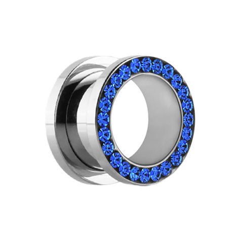 Schwarzer Flesh Tunnel Ohr Piercing mit Grün oder Helllila Rand Plug Schraub
