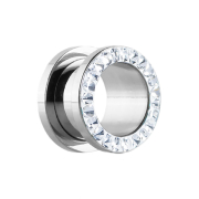 Flesh Tunnel silber mit Kristall silber und Epoxy Schutzschicht