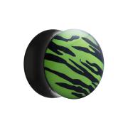 Flared Plug mit Zebramuster grün