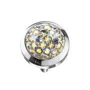 Dermal Anchor Kristall Kuppel multicolor mit Epoxy Schutzschicht
