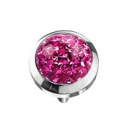 Dermal Anchor Kristall Kuppel pink mit Epoxy Schutzschicht