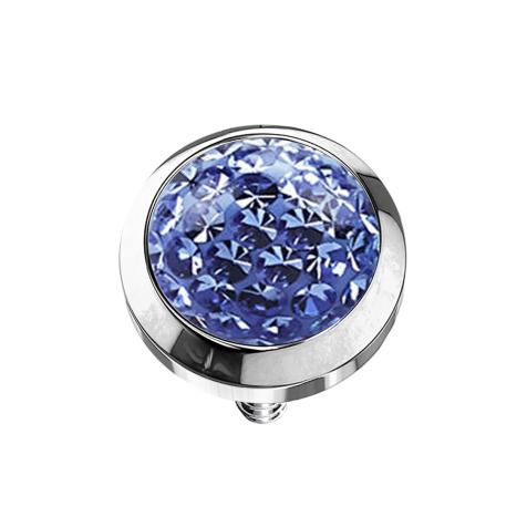 Dermal Anchor Kristall Kuppel hellblau mit Epoxy Schutzschicht