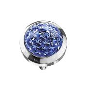 Dermal Anchor Kristall Kuppel hellblau Epoxy Schutzschicht