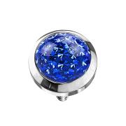 Dermal Anchor Kristall Kuppel dunkelblau Epoxy Schutzschicht