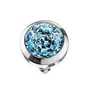 Dermal Anchor Kristall Kuppel aqua mit Epoxy Schutzschicht