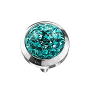 Dermal Anchor Kristall Kuppel türkis mit Epoxy Schutzschicht