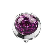 Dermal Anchor Kristall Kuppel violett mit Epoxy Schutzschicht