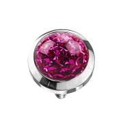 Dermal Anchor Kristall Kuppel fuchsia mit Epoxy Schutzschicht